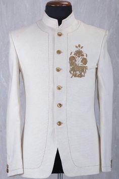Buy Off White Jute Zardosi Embroidered Jodhpuri Suit Online Samyakk Bangalore Indian Men Fashion, Mens Fashion Wear, Suit Fashion, Fashion Menswear, Smart Menswear, Casual Menswear, Wedding Dresses Men Indian, Wedding Dress Men, Wedding Suits