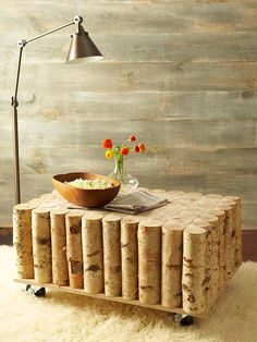 Birch-log coffee table. Cute!