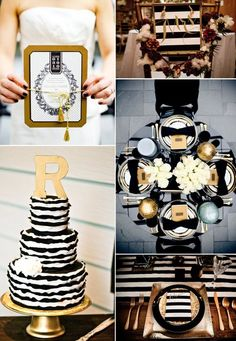 Black and Gold - an absolutely elegant wedding color palette. Silver, Platinum or Gunmetal is more our cup of tea than Gold.