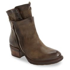 Women's A.s.98 Cadmus Layered Shaft Bootie ($330) ❤ liked on Polyvore featuring shoes, boots, ankle booties, moss, destroy boots, zip ankle boots, rubber sole boots, short zipper boots and zip boots