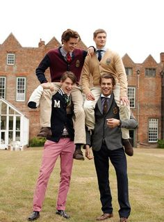 Preppy boys just hanging out...