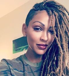 Here is Meagan Good Braids Pictures for you. Meagan Good Braids watch how to get meagan goods goddess faux locs. Faux Locs Hairstyles, Shaved Side Hairstyles, My Hairstyle, Braids With Shaved Sides, Curly Hair Styles, Natural Hair Styles, New Hair Do, Girls Braids, Hair Inspiration