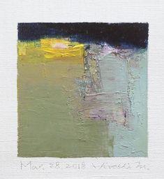 Il s'agit d'une peinture à l'huile abstraite par Hiroshi Matsumoto Titre : 28 mars 2018 Taille : 9,0 cm x 9,0 cm (environ 4 x 4) Toile taille : 14,0 cm x 14,0 cm (env. 5,5 x 5,5) Technique : Huile sur toile Année : 2018 Peinture est feutré en écru pour s'adapter à cadre standard 8