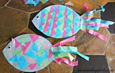 Kids Craft: Construction Paper Fish with Tissue Paper Scales | Homeschooling Mom 4 Two