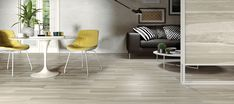 Dining space in living room. Floor tiles - Indonesian Wood from Campani Ceramica. Timber Tiles, Wood Tiles, Slider Images, Inspiration Wall, Kitchen Inspiration, Ceramic Materials, Dining Room Design, Floor Chair, Room Decor