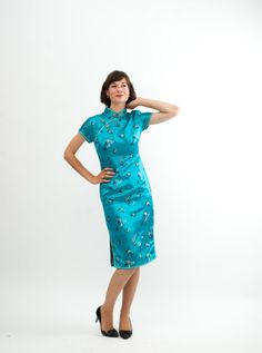 Vintage 1960s Wiggle Dress 60s Cheongsam Dress by concettascloset