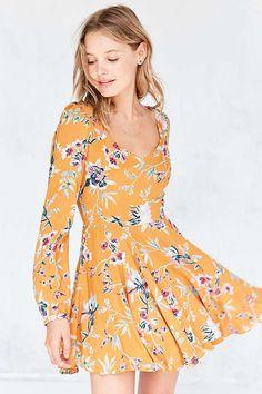 Ecote Rosalinda Floral Long-Sleeve Mini Dress - Urban Outfitters