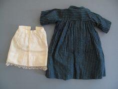 Primitive Doll Dress Pattern | 1800'S PRIMITIVE ANTIQUE DRESS FOR CLOTH RAG DOLL / INDIGO BLUE CALICO ...