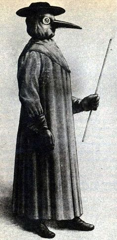 A plague doctor. Putrid air (according to the miasmatic theory of disease) was seen as the cause of infection. The protective suit consisted of a heavy fabric overcoat that was waxed. A wooden cane pointer was used to help examine the patient without touching.
