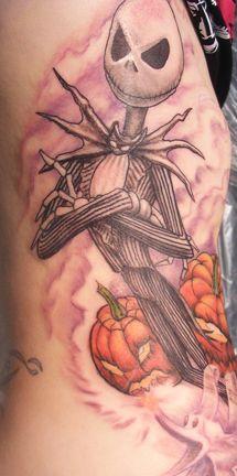 Grey Ink Nightmare Halloween Tattoo On Sleeve
