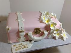 Pink vintage luggage with plumeria lei, Sugarnomics Cake Studio Guam