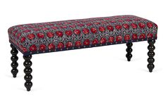Kim Salmela Carly Bench, Navy/Red, Intricately carved alder legs add a quiet elegance to this sophisticated bench. Rendered in chic patterned upholstery with nailhead trim, it will be a classic addition to any space. Handcrafted in Southern California. Entry Furniture, Bench Furniture, Furniture Makeover, Living Room Furniture, Home Furniture, Dining Rooms, Navy Blue Furniture, Traditional Benches, Living Room Bench