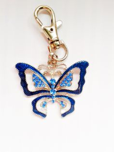 Gorgeous Butterfly Key chain // Key ring in deep turquoise - teal and sparkly blue rhinestones - Gifts For Her by HLBespoke on Etsy