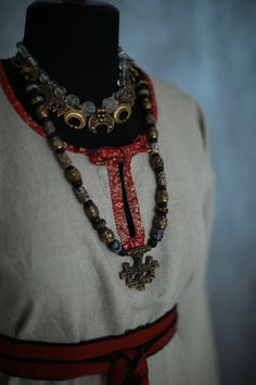 Norse Clothing, Crochet Necklace, Beaded Necklace, Viking Woman, Iron Age, Period Costumes, Ethnic Fashion, Female, Inspiration