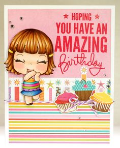 """An absolutely adorable birthday card made by Amy (A Thousand Sheets of Paper) with """"Love Expressions"""" digital stamp from www.peeweedesigns.net"""