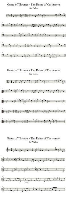 "Requested by ~AnnieSue Game of Thrones ""Rains of Castamere"" sheet music for violin, viola, and cello. Rains of Castamere Viola Sheet Music, Cello Sheet Music, Violin Sheet, Violin Music, Music Sheets, Game Of Thrones, Viola Noten, Cello Noten, Violin Lessons"