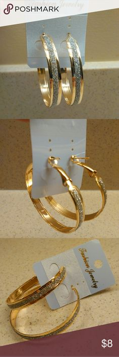 """Hoop Earrings Alloy Gold + Silver Sparkles These are around 2""""-3"""" in diameter.  Made of lightweight alloy,  Beautiful & durable.  Secure enclosure you can bend go adjust for comfort.  Items ship within 3 business days of payment.  Follow us for new listings daily.  Thank you for looking!!! Jewelry Earrings"""
