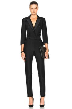 120c6972d859 Shop for Veronica Beard Daffodil Tuxedo Jumpsuit in Black at FWRD.