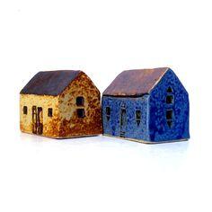 Ceramic Sculpture  Blue Brown House