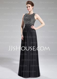 Evening Dresses - $152.49 - A-Line/Princess Scoop Neck Floor-Length Chiffon Sequined Evening Dress With Ruffle (017019703) http://jjshouse.com/A-Line-Princess-Scoop-Neck-Floor-Length-Chiffon-Sequined-Evening-Dress-With-Ruffle-017019703-g19703