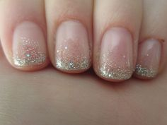 """Use all Gelish Gel Polishes for this look. 1 coat of """"Ballerina"""" for the base color, then a combo of loose glitter and """"Water Field"""" at the tips. The little holo flecks in Water Field make it look amazing and sparkly in the light!"""