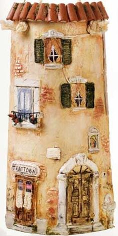 Cute idea for stone/brick painting :) Clay Houses, Ceramic Houses, Miniature Fairy Gardens, Miniature Houses, Tile Art, Mosaic Art, House On The Rock, Roof Tiles, Miniature Furniture