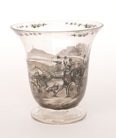 An early 20th Century Bohemian crystal glass vase by Josef Lenhardt of Steinschonau, footed bell form black enamel decorated with a horse drawn coach to a landscape setting, unmarked, height 16cm.