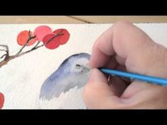Watercolor Painting Winter Bird Lesson 4