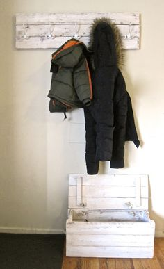 DIY Coat Rack and Boot Box --- Make your own! All instructions shown.