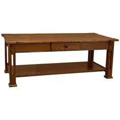 """This 48"""" Amish Mission Parker Coffee Table displays an elegance and simplicity that has stood the test of time. This Amish Coffee Table is built with hand selected solid Plain Cut Oak. In addition, this exceptionally durable coffee table is sealed with a conversion varnish that protects this elegant piece from water, oil, alcohol and even nail polish. Furthermore, the drawer features English dovetails and sits on full-extension side mount ball bearings for a wonderfully smooth motion that…"""
