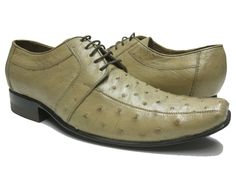 MEN'S SAND TAN GENUINE OSTRICH SKIN DRESS SHOES EXOTIC OXFORDS WESTERN