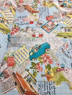 67f027e59c9 Travel Bon Voyage Vintage World Map Designer Fabric for Curtains Upholstery  Dress Cotton - 140cm wide - Blue