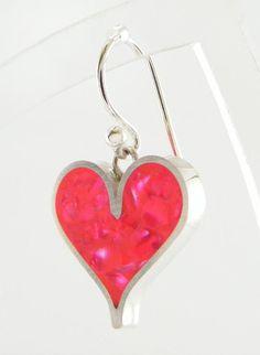 SALE  Sterling Silver Heart Earrings  Scarlet Resin & by vjddesign, £50.00