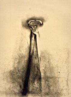 This charcoal drawing is one of Jim Dine's many beautiful drawings of tools. Jim Dine draws familiar, ordinary objects and gives them a life of their own. He treats the spaces in an around the objects with as much importance as the objects themselves and juxtaposes precise form with chaotic, yet controlled application of tone