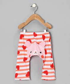 Take a look at this Pink Heart Bunny Pants - Infant by KAZOO on #zulily today!