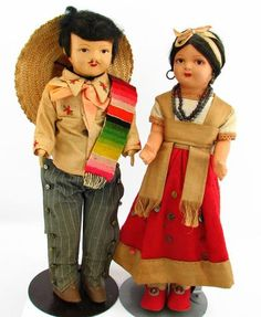 1950s Mexican Composition and Cloth Travel Dolls
