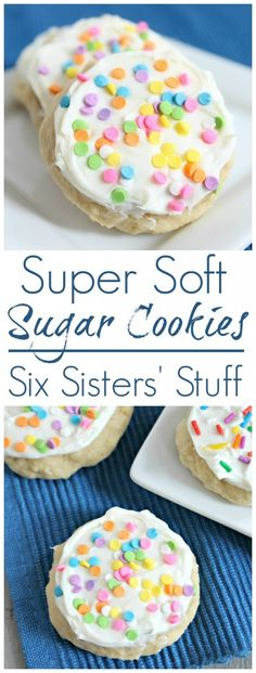 Super Soft Sugar Cookies recipe I love soft sugar cookies! That is one treat I have NO control of. When I'm pregnant, I can really eat them all day long. If you are looking for an easy sugar cookie recipe, you have got to try these cookies! Brownie Desserts, Mini Desserts, Just Desserts, Delicious Desserts, Soft Sugar Cookie Recipe, Soft Sugar Cookies, Yummy Cookies, Super Cookies, Cake Cookies