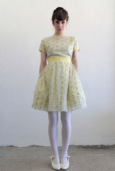 reserved  Vintage Baby Doll Dress  Pale Yellow  Mini  by VeraVague, $125.00