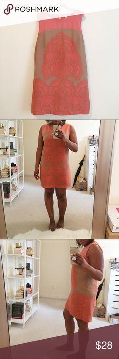 Pink and tan dress   New York & Company Super cute!! Pink and tan paisley floral sheath dress. New York & Company Dresses