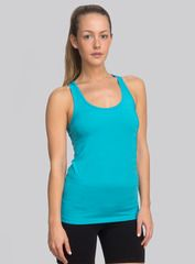 The Racerback Tank in aqua. Unbelievably soft to the touch, our tank is made from high-quality materials, like nylon, polyester and spandex, and its casual fit hugs your body in all the right places. Shop this and other styles at www.coryvines.com