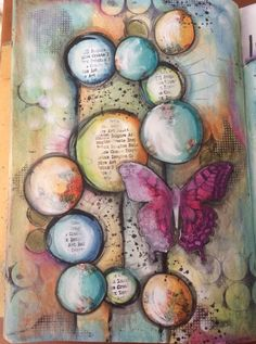 Playtime !!! #art #acrylics #artjournal #artjournalling #artjournalpage #butterfly #collage #circleart #dylusionsjournal #intuitiveart #intuitivepainting #journal #layers #mixedmedia #mixedmediaart #neocolors #paint #stabilo #watercolour