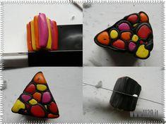 Scegliere i colori e ammorbidire il Fimo, quindi stendere il nero (o il colore che si é scelto per il contorno) e formare delle palline con i restanti, che diventeranno cilindretti di vari diametri…