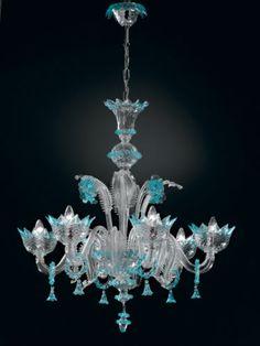 Lustre 6 lumierès Topdomus Veneziano cristal et bleu ciel authentique de Murano   eBay
