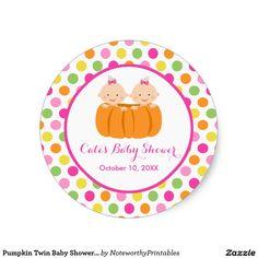 Pumpkin Twin Baby Shower Sticker