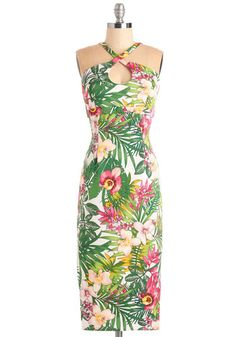 Mover and Holiday-Maker Dress by Bettie Page - Knit, Multi, Floral, Print, Party, 60s, Bodycon / Bandage, Halter, Spring, Summer, Vintage Inspired