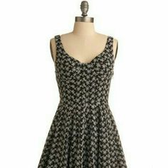 Modcloth Moonlit Meadow Dress Black White Eyelet Great embroidered detailing, worn once ModCloth Dresses