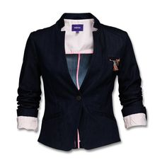Blazer ($135) ❤ liked on Polyvore featuring outerwear, jackets, blazers, tops, blue jackets and blue blazer