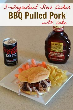 3-ingredient Slow Cooker BBQ Pulled Pork with Coke Recipe~talk about EASY PEASY!!!!!  I used it w a bottled barbq sauce n it tasted like I spent hrs. making it......