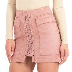 Front Cross Suede Skirt
