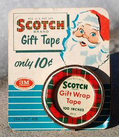 "Vintage Christmas Ephemera ~ Scotch Tape Refill on Display Card w/ Santa Claus ""only 10¢* Circa, 1950's. The graphics back then beat anything today!"